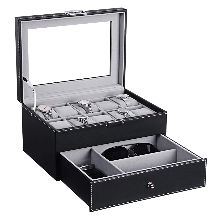 BEWISHOME Watch Box Organizer with Valet Drawer - Real Glass Top, Metal Hinge, Large Holder, Black PU Leather - 10 Slots Watch Storage Case Jewelry Box for Men SSH14B
