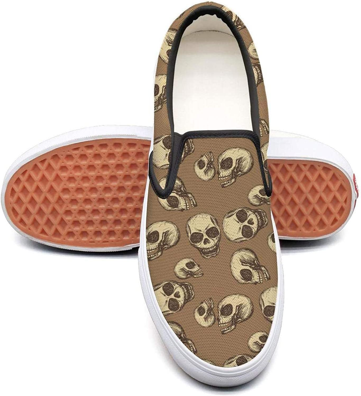Brown Dia De Los Muertos Skull Art Poster Slip On Rubber Sole Sneakers Canvas shoes for Women Casual