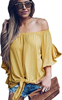 Women's Casual Striped 3/4 Bell Sleeve Tops Off Shoulder Blouse Front Tie