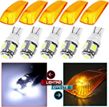 cciyu Cab Marker Light 5x T10-5-5050-SMD-WhiteTop Clearance Roof Running Bulbs 5x Amber Cab Marker Lens/Covers Automotive Replacement Cab Marker Assembly Replacement fit for 1988-2000 Chevy GMC