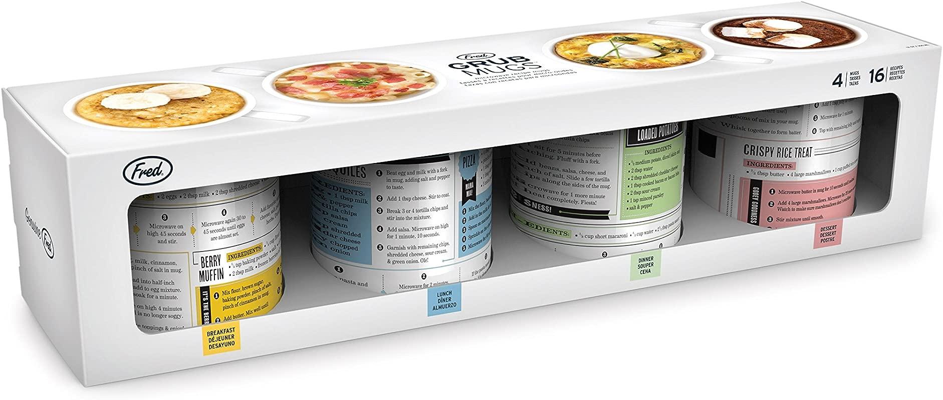 Fred 5200155 GRUB MUGS Microwavable Porcelain Recipe Mugs 12 Total Recipes Gold