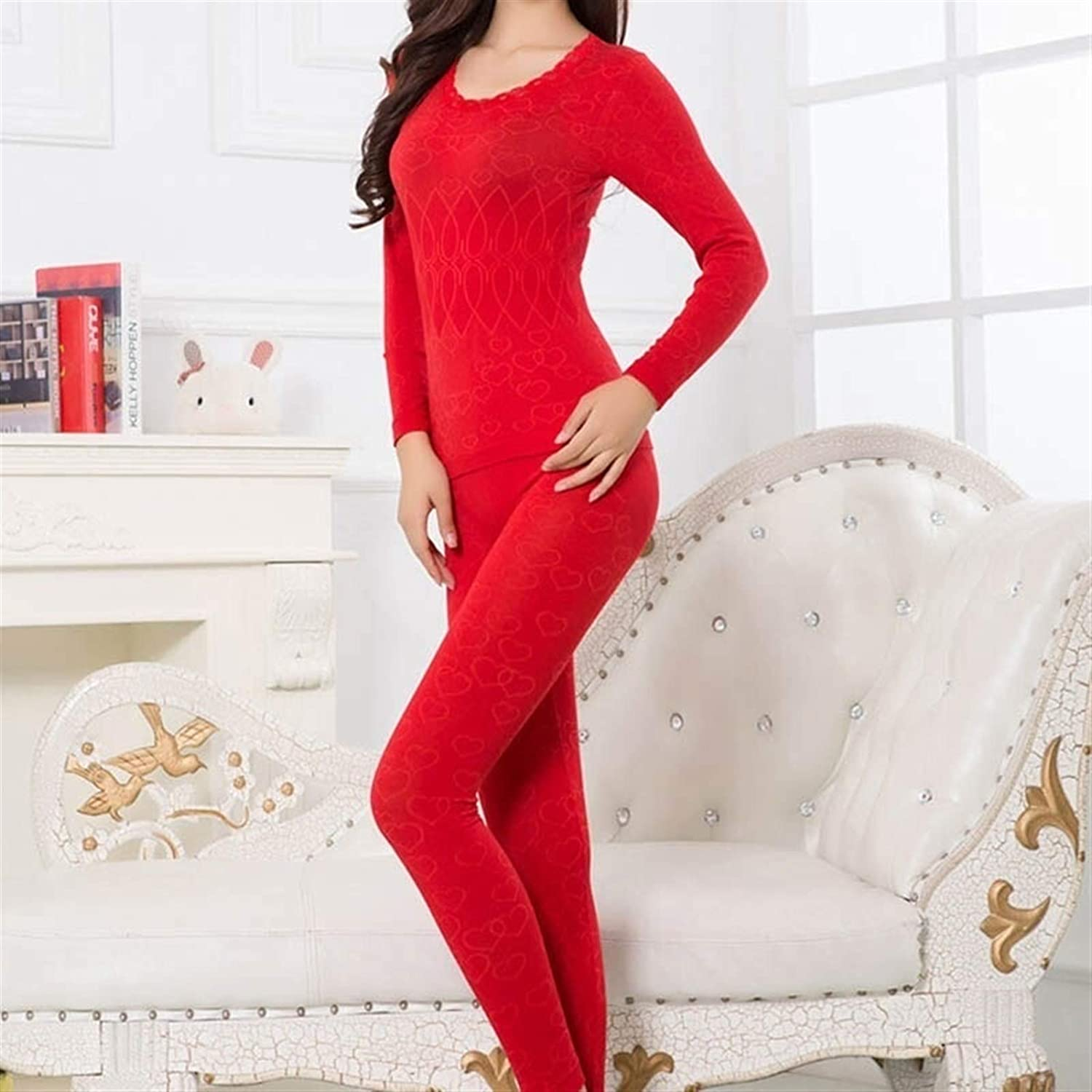 DZHT Women Warm Thermal Underwear Woman Long Sleeve Thermal Clothing Underwears Sets (Color : Red, Size : One Size)