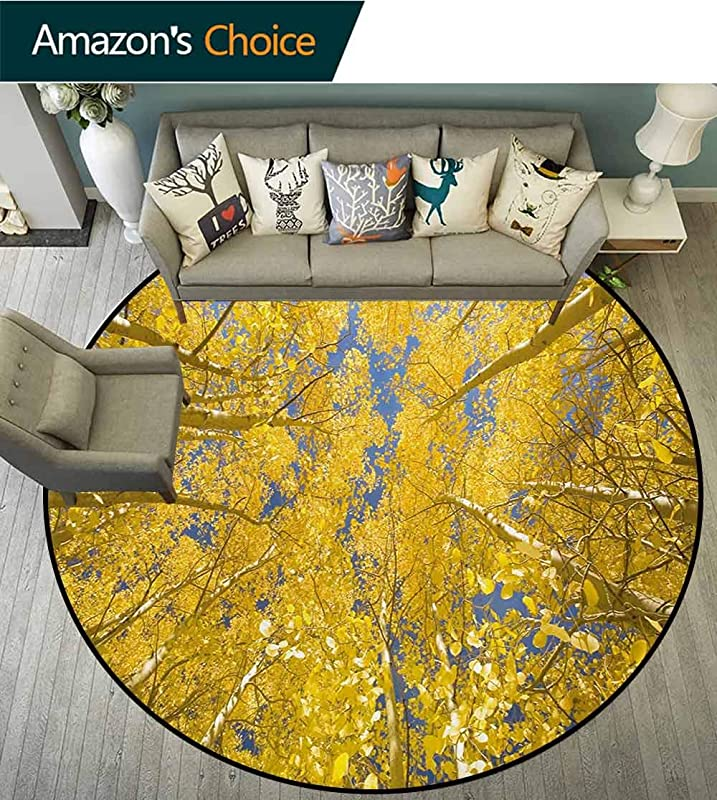 RUGSMAT Yellow And Blue Non Slip Area Rug Pad Round Looking Skyward Amongst The Patch Of Sun Lit Aspen Trees In Autumn Life Print Protect Floors While Securing Rug Making Vacuuming Diameter 24 Inch