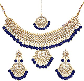 blue kundan necklace set