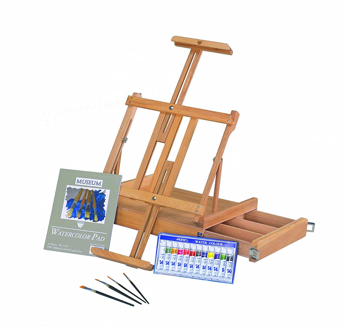Martin Van Dyck Deluxe Studio Watercolor Painting Kit, Includes 12 Watercolor Paints, 4 Brushes and Pad, 1 Each (63-AB40013)