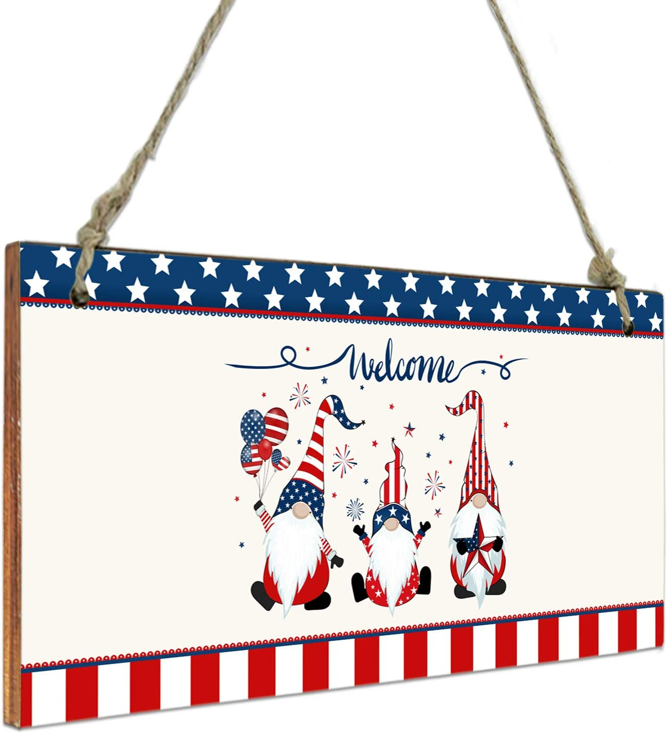 4th of July Hanging Wall Decor Wooden Sign-Independence Day Welcome Gnomes Balloons Pentagram Stripes Patriot,Welcome Door Sign Wood Plaque for Home Living Room Bedroom Bathroom Farmhouse Wall Decor