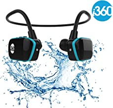 Reproductor MP3 impermeable, de la marca i360, color negro y azul