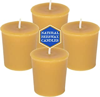 Natural Beeswax Votive Candles - 100% Pure Beeswax (4-Pack)