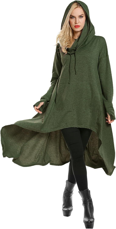 Zeagoo Sweatshirt Hooded Women Long Sleeve High Low Sweater Dress Loose Pullover Cloak Thumb Hole Tunic Top with Pocket