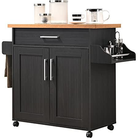 Hodedah Kitchen Island with Spice Rack, Towel Rack & Drawer, Black with Beech Top