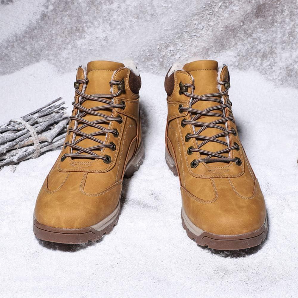 CEKU Snow Boots Mens Warm Outdoor Winter Hiking Leather Waterproof Trekking High Top Fur Lining Shoes