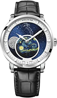Agelocer Men's Top Brand Blue Moon Phase Automatic Mechanical Fashion Luxury Wrist World Time Calendar Watch