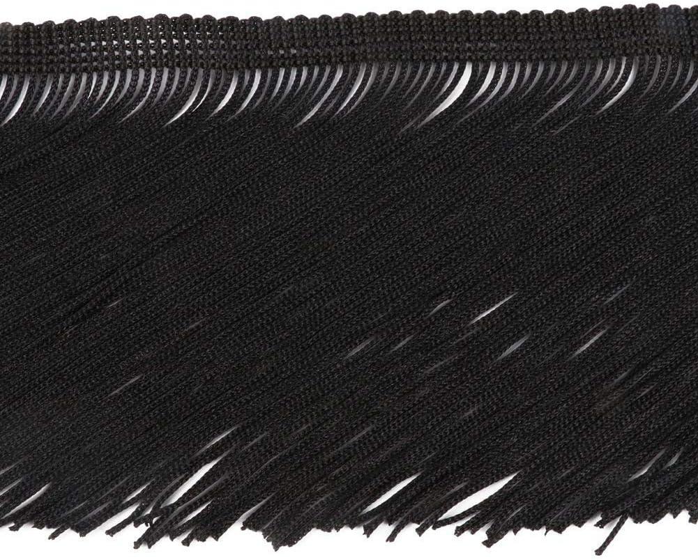 CENFRY 5yards of 4 Width Fringe Trim Tassel Sewing on Clothing Black