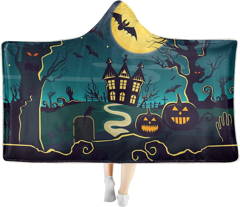 New item Halloween Witch Castle Pumpkin Wearable Hooded Selling Soft Blanket Cozy