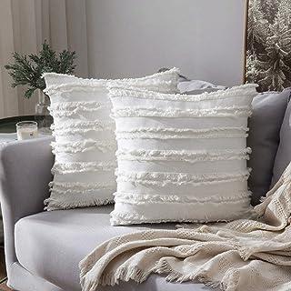 MIULEE Kussensloop met franjes, decoratief sierkussen in boho-stijl, superzachte kussenslopen met franjes, voor slaapbank,...