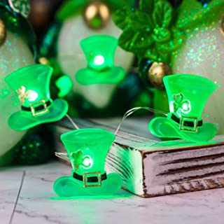 Impress Life Green Hat for St. Patrick Day, Battery/USB Operated 10Ft Green Hat LED String Lights with Remote for Decor Be...