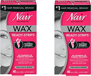 Nair Hair Remover Wax Ready-Strips 40 Count Face/Bikini (2 Pack)