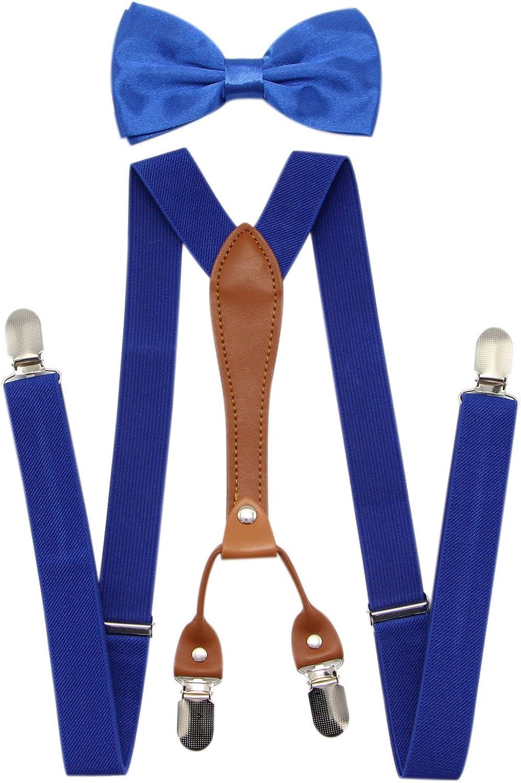 JAIFEI Suspenders & Bowtie Set- Men's Elastic X Band Suspenders + Bowtie For Wedding, Formal Events