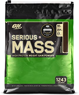 Optimum Nutrition Serious Mass Weight Gainer Protein Powder, Vitamin C, Zinc and Vitamin D for Immune Support, Chocolate, ...