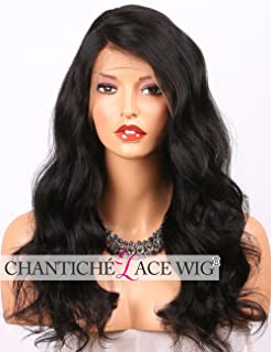 Chantiche Body Wave 360 Wig with Baby Hair and Right Deep Part, Brazilian Remy Human Hair Wigs for Black Women Natural Color 14inch