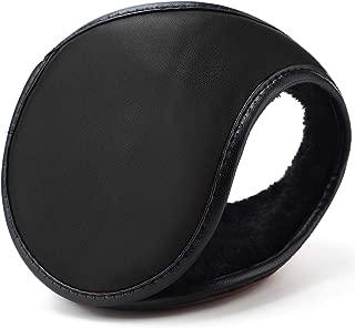 HIG Ear Warmers Unisex Leather Classic Fleece Winter Warm Earmuffs for Men & Women