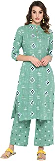 Janasya Women's Sea Green Pure Cotton Kurta With Palazzo