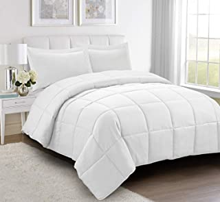 HIG 3pc Down Alternative Comforter Set - All Season Reversible Comforter with Two Shams - Quilted Duvet Insert with Corner Tabs -Box Stitched –Hypoallergenic, Soft, Fluffy (Full/Queen, Pure White)