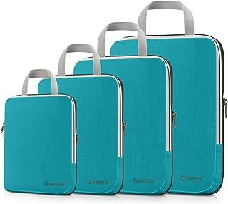 Gonex Compression Packing Cubes Set, Expandable Packing Organizers 4pcs (Blue)