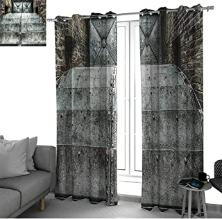 Industrial Decor Collection 2 Panels Set Bedroom Kitchen Factory British Victorian Times Old Fashioned Historic Heritage Recession Image Kids Curtain Metallic Silver W120 x L96 Inch