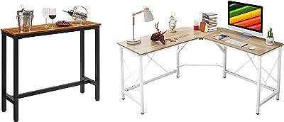 "Mr IRONSTONE 47"" Rectangular Kitchen Bar Table & L-Shaped Desk 59"" Computer Corner Desk"