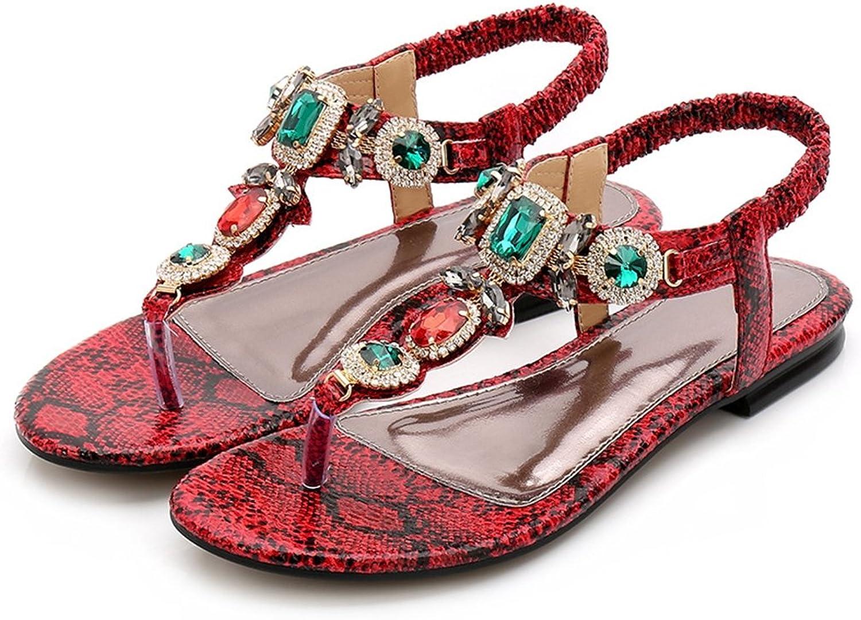 CYBLING Womens Summer Flat T-Strap Sandals Bohemian Beaded Beach Thong Dressy Sandal