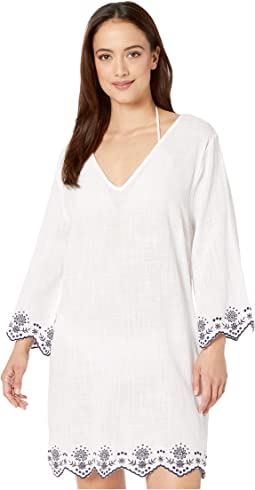 Rosemary Embroidery V-Neck Caftan Cover-Up