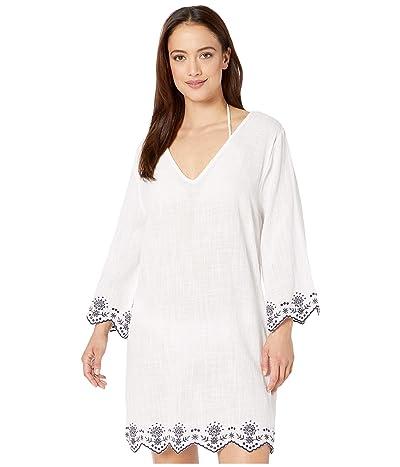 DOTTI Rosemary Embroidery V-Neck Caftan Cover-Up (White) Women