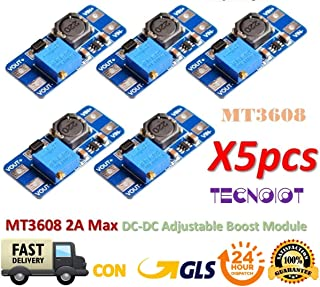TECNOIOT 5pcs MT3608 2A MAX DC-DC Step Up Power Module Booster Power Module