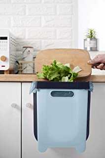 SpreetyHome Collapsible Rubbish Bin, Foldable Trash Can, Collapsible Small Waste Bin, Hanging Over Cabinet Door or Drawer,...