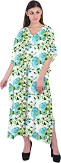RADANYA Womens V Neck Long Caftan Dress Swim Cover Up Long Maxi Beach Floral Dress