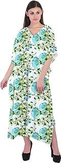 RADANYA Womens V Neck Long Caftan Dress Swim Cover Up Long Maxi Beach Floral Dress