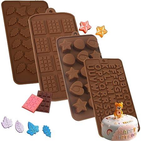 Moldes de silicona para chocolate con formas de letra número feliz cumpleaños para repostería de gelatina, 4 unidades