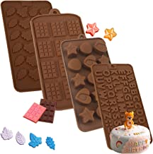Chocolate Mold Candy Molds Silicone Shapes of Letter Number Happy Birthday for Jello Baking Cake Making Supplies 4 Pack