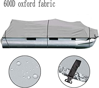 25-28Ft Heavy Duty Boat Cover 600D Oxford Fabric PVC Coating Trailerable Waterproof Trailer Fishing Ski Protector with Carrying Bag 118 Beam Width Gray