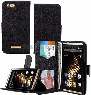 BLU Vivo XL (V0030UU) Wallet Case with Stand Flip Case, Hand Band, Credit Card Slots (Wallet Black)
