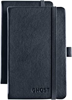 Pocket Notebook Journal (2 Pack) Small Hardcover Notebook Size 3x5 inch, with Pen Holder, Premium 120 grams Ruled/Lined Paper (Acid Free), Sewn Sheets, Elastic Closure and Bookmark.