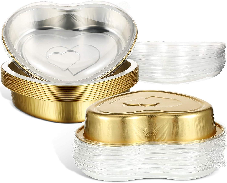 Aluminum Max 42% OFF Foil Cake Pans Golden Heart Shaped ml 22.7 Finally popular brand 670 B ounce