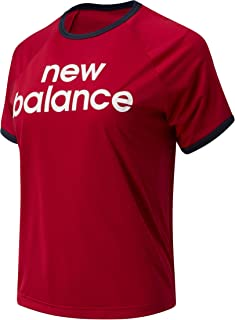 New Balance Women Achiever Graphic High Low Tee Top Performance Neo Crimson S