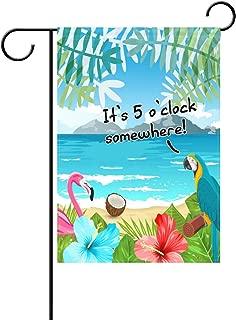 Duble Sided Flamingo Parrot It's 5 o'clock Somewhere Tropical Flowers Palm Coconut Beach Ocean Island Polyester Garden Flag Banner 12 x 18 Inch for Outdoor Home Garden Flower Pot Decor