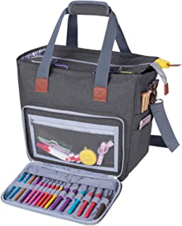 Luxja Knitting Bag with Shoulder Straps, Yarn Bag for Carrying Projects, Knitting Needles, Crochet Hooks and Other Accessories, Gray
