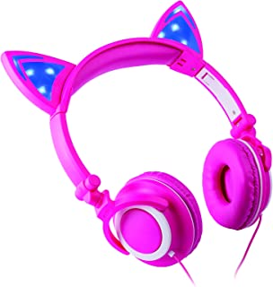Headphone Over The Ear On The Head Light Up Cat Ear Feline Premium Quality Audio with Super Bass Comfort Padded Ear Cups Foldable 3.5MM Connector Pink Cat Headphone Pink CAT-12/0144