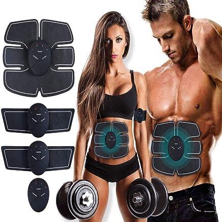 Satcom Electrostimulateur Musculaire Entra/înement Abdominal//Cuisse//Bras Muscle EMS Forme dexercice Fitness,Ceinture Abdominale Electrostimulation et 10 Coussinets de Gel