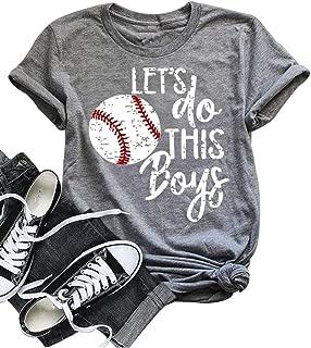 Women Let's Do This Boy Baseball Mom Tshirt Casual Letter Print Tops Tee