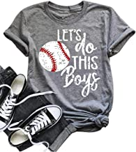 DUDUVIE Women Let's Do This Boy Baseball Mom Tshirt Casual Letter Print Tops Tee